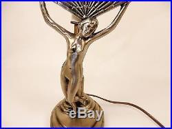 Vintage Lamp, Chandler II Art Deco Style, Fan-Shape Purple Slag Glass Shade