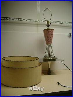 Vintage MID Century Atomic Pink Fiberglass Shade Art Deco Table Lamp