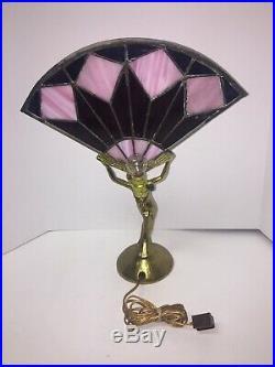 Vintage MID Century L & L Wmc Nude Winged Lady Figure Art Deco Style Table Lamp