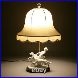 Vintage Nude Woman Dogs Art Deco Porcelain Girl Lady Figure Table Light Lamp