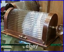 Vintage Old Art Deco Metro Theatre Light Bronze Case Glass Rod Wall Sconces Lamp