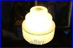 Vintage Original Art Deco Chrome Desk Lamp Stepped Glass Shade Walnut Base 20's
