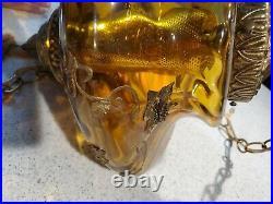Vintage Ornate Swag Lamp Glass Amber Hanging Light Art Deco MCM
