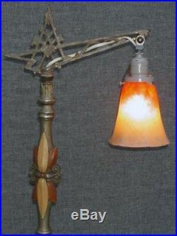Vintage Painted Deco Bridge Floor Lamp Spider Web Base Schneider Art Glass Shade
