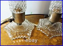 Vintage Pair of Art Deco Glass Bullet Torpedo Skyscraper Boudoir Lamps