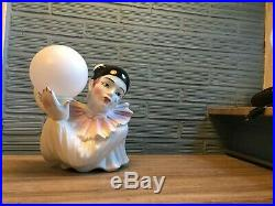 Vintage Pierrot Lamp Ceramic Table Desk Clown Decorative Art Deco Style Light
