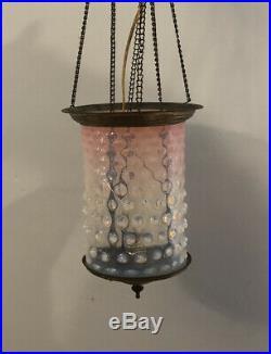 Vintage Pink Hobnail Ceiling Lamp Light Fixture chandelier Art Deco 24