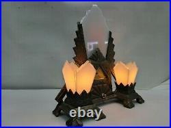 Vintage Rare Art Deco Table Lamp Mantle Clock 1930's