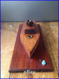 Vintage Retro Large Art Deco Wooden Sailing Ship Lamp Base Nautical Boat Unusual