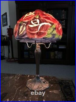 Vintage Reverse Painted Floral Pairpoint Puffy Style Lamp with Art Deco Style Base