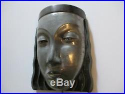 Vintage Sarsaparilla Art Deco Woman Head Wall Sconce Lamp Metal Face Modernism