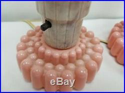 Vintage Set Art Deco Pink Glass Torpedo Skyscraper Bullet Lamps Boudoir Vanity