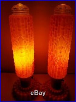Art Deco Lamp 187 Vintage Set Art Deco Pink Glass Torpedo
