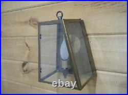 Vintage Solid Brass Light Fixture Sconce Wall Porch 70s Art deco Patina Lamp