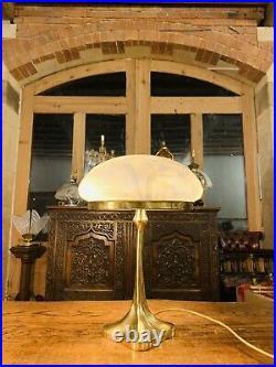 Vintage Solid Bronze & Handmade Glass Table Lamp, Art Deco, Art Nouveau