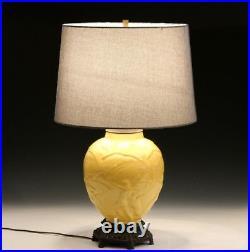 Vintage Stangl Art Deco Pottery Archers Atomic Yellow Large Globe Vase Lamp