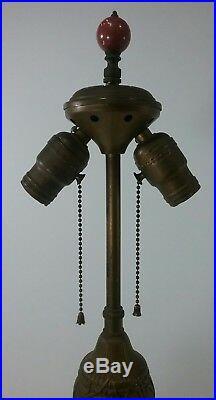 Vintage Table Lamp Cast Iron Art Nouveau Antique brass gold lilly flowers deco