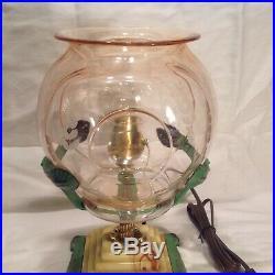 Vintage Unusual Pink Depression Glass Fish Bowl Holder Light Art Deco Lamp