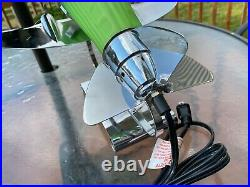 Vintage Working Frosted Green Glass Chrome DC-3 Art Deco Plane Lamp
