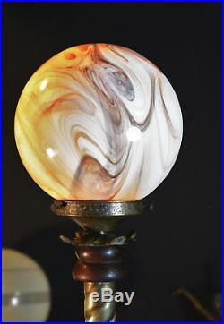 Vintage antique floor / desk lamp 1940s art deco brass mahogany opaline glass
