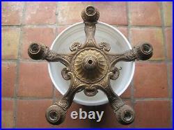 Vintage antique victorian light Ceiling mount Gothic Metal Art Deco 5 arm Lamp