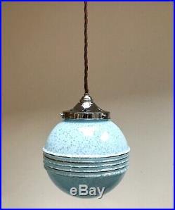 Vintage original French Art Deco glass globe lamp light chrome gallery + holder