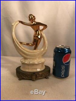 Vtg 1920's Art Deco Metal Base Pottery Nude Lady Dancer Lamp Repair Figurine