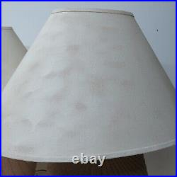 Vtg 80's Stone Textured Art Deco Revival Draped Table Lamp Light Ceramic Pair