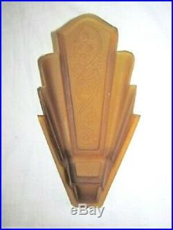Vtg Antique Amber Art Deco Slip Shade Wall Sconce Consolidated Lamp & Glass
