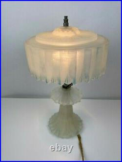 Vtg Antique Art Deco Boudoir Table Lamp Frosted Glass Airbrushed Blue Accents