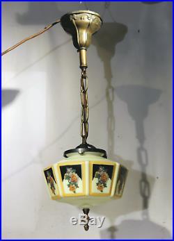 Vtg Antique Art Deco Ceiling Fixture Chandelier Lamp Vaseline Glass Pendant