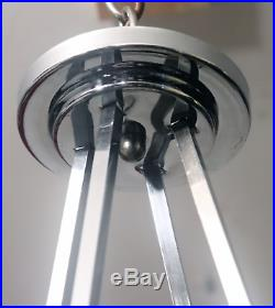 Vtg Antique Art Deco Glass Chandelier Chrome French Bowl Ceiling Fixture 3 Lamp