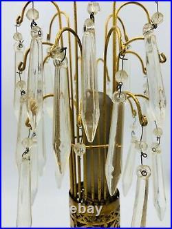 Vtg Antique Glass Prism Crystal Chandelier Cast Table Lamp Set Art Deco Nouveau