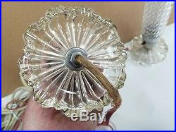 Vtg Art Deco 1930 Glass Torpedo Skyscraper Bullet Lamps Boudoir Vanity Headboard
