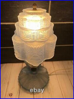 Vtg Art Deco Blue Frosted Glass Tiered Skyscraper Boudoir Table Night Lamp Light