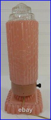 Vtg Art Deco Crystal & Pink Glass Bullet Torpedo Skyscraper Boudoir Lamp Light