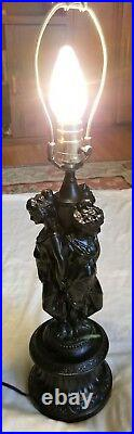 Vtg Art Deco Era Cast Metal 3 Ladys Figurin Chandelier Lamp Fixture