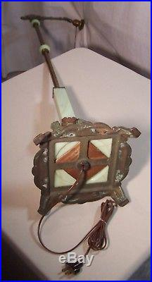 Vtg Art Deco Floor Lamp Vaseline Houze Cast Iron Light Shade Rewired USA #K28