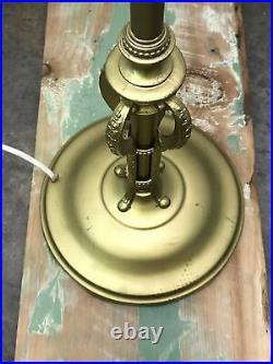Vtg Art Deco Gold Torchiere Floor Lamp Mid Century Hollywood Regency (No Shade)
