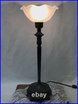 Vtg Art Deco Nouveau Torchiere Table Lamp Glass Shade Bronze Boudoir Bedside