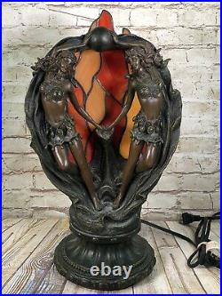 Vtg Art Deco art nuveau dancing ladys sculptor stained glass table lamp