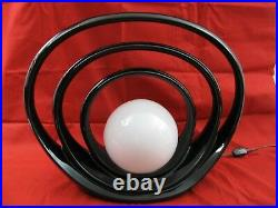Vtg MCM Black Glazed Ceramic Halo Table Lamp HARRIS China Modern Art Deco Globe