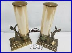 Vtg Rare Art Deco Pair Nude Lady Women Table Lamp Perfect Frankart Era Style Wow