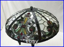 Vtg Stained Glass Lamp Shade Arts & Crafts Deco Mission Tiffany Style 20 Large