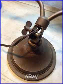 Vtg Stickley Era Harp Lamp Bryant Hardware Brass Desk Art Deco 1900s Oscillate