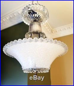 Vtg Stunning Art Deco Ceiling Lamp Fixture Glass Chandelier Light 1940