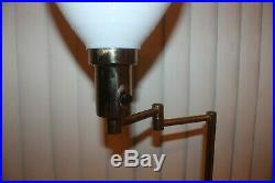 Vtg TORCHIERE FLOOR LAMP BRASS FINISH Swing Arm ART DECO Teak MILK GLASS SHADE