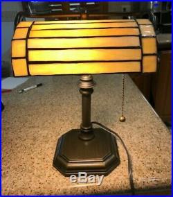 Vtg Table Desk Banker Lamp Art Deco Tiffany Style Stained Slag Glass Gooseneck
