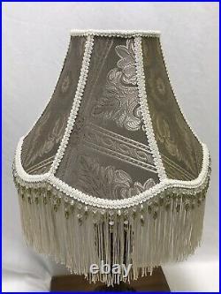Vtg Victorian Art Deco Lamp Shade Beige Green Ivory Beaded Long Fringe 15x11x6