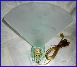 Waldorf Astoria Art Deco Nymph with Wings Lamp greenie metal witha glass Fan USA